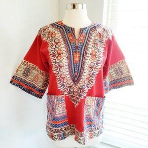 Dashiki Top African Rasta Tunic Red Print Small